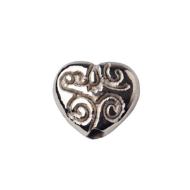 Bead with metalcoating in heart shape and drawing
