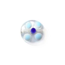 Doorzichtige glaskraal met lichtblauwe en donkerblauwe uitsteeksels