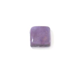 Platte vierkanten paarse glaskraal