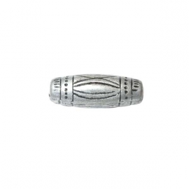 Decorated, silver colored bead