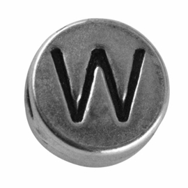 "Silver colored metal letter bead ""W"" from Rayher"