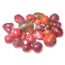 Mix Oranje glaskraalmix; verschillende afmetingen