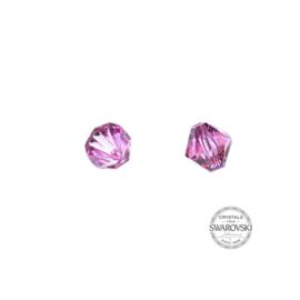 Licht roze Swarovski bicone kraal 6 mm