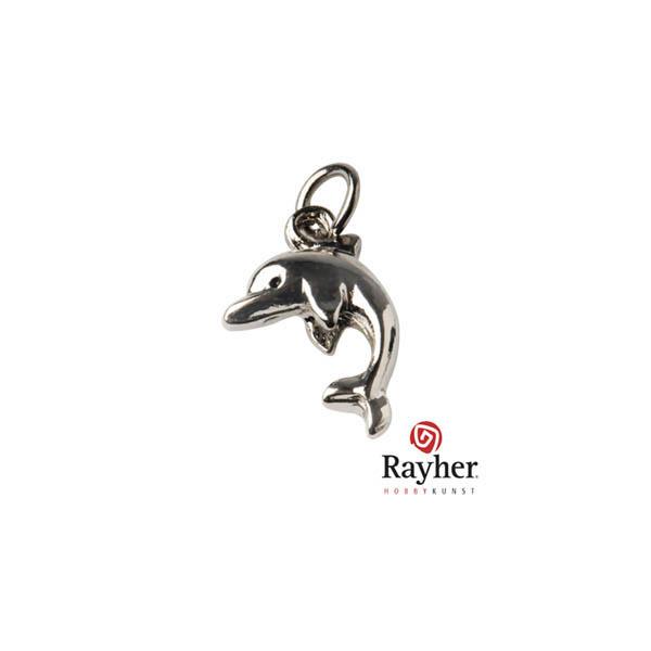 Zilverkleurige metalen bedel Dolfijn