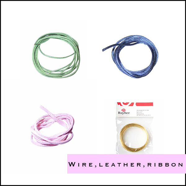 Wire, leather and ribbons