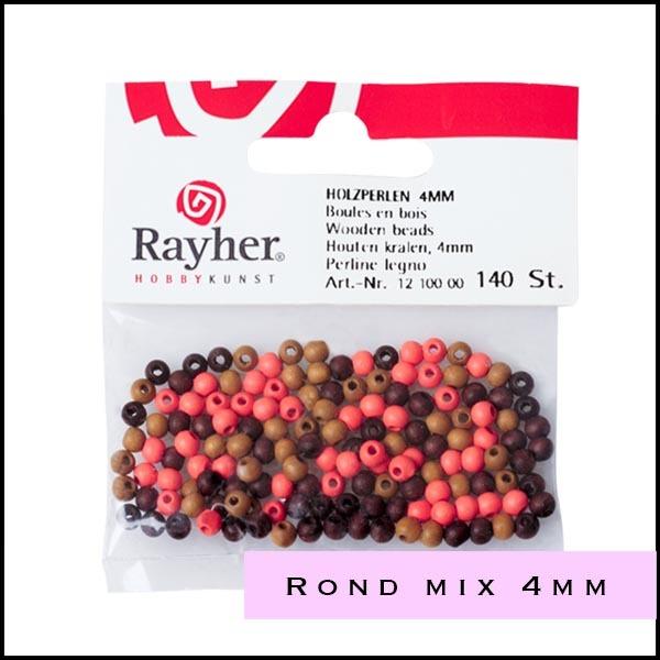 Houten kralenrond mix 4 mm