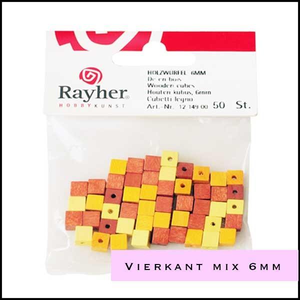 Houten kralen Rayher vierkant 6 mm