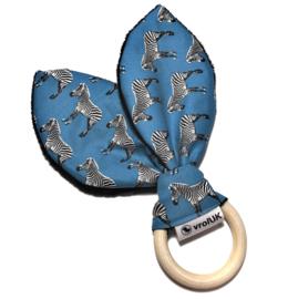 Knisperoortje - Petrol/blauw zebra