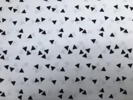 Stof - Wit met zwart driehoekje