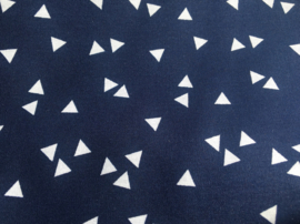 Stof - Blauw (donker) wit driehoek