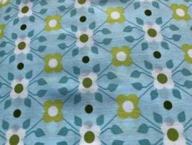 Stof - Blauw / groen bloem patroon