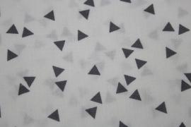 Stof - Wit met grijs driehoek