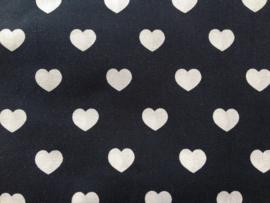 Stof - Blauw (donker) wit hart