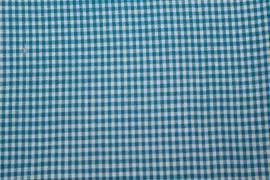 Stof - Blauw / Ruit (wit)
