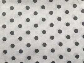 Stof - Wit met grijs polkadot