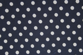 Stof - Blauw (donker) wit polkadot