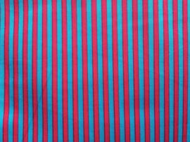 Stof - Blauw / roze streep