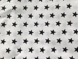 Stof -  Wit met zwarte sterretjes