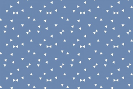 Stof - Blauw driehoek / strikje