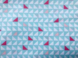 Stof - Blauw / roze driehoek