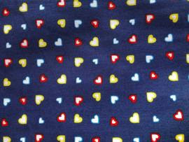 Stof - Blauw gekleurde hartjes