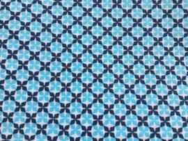 Stof - Blauw / donker blauw motief