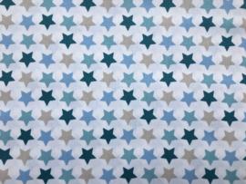 Stof - Blauw / zand sterren mix