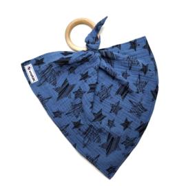 Knuffeldoekje met bijtring - Blauw met zwarte ster
