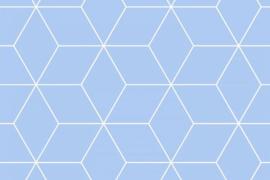 Stof - Blauw diamant groot