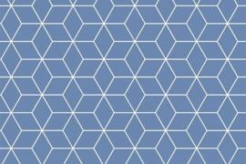 Stof - Blauw diamant klein