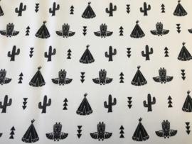 Stof - Wit / Zwarte cactus