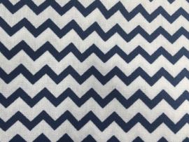 Stof - Blauw (donker) zigzag