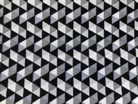 Stof -  Zwart/grijs driehoek motief