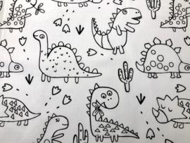 Stof -  Wit Dino kleurplaat