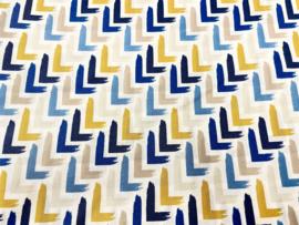 Stof - Blauw / zand/ geel L