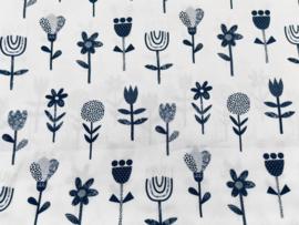 Stof - Blauw bloem (wit achtergrond)