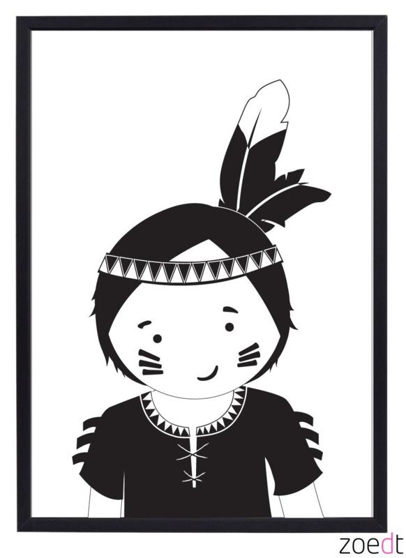 Poster met indianen jongen