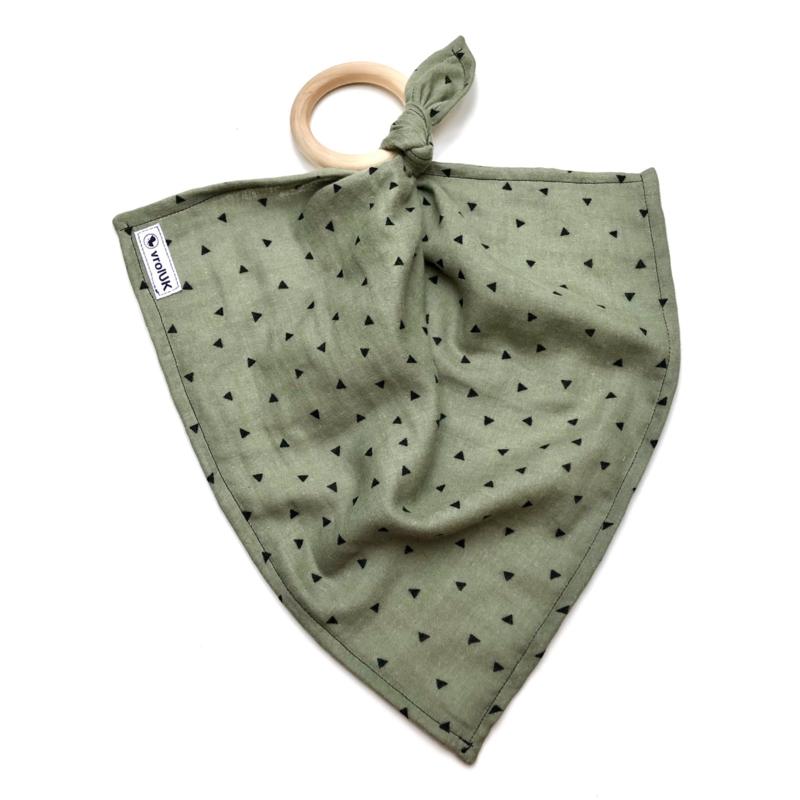Knuffeldoekje met bijtring - Groen met zwart driehoekje