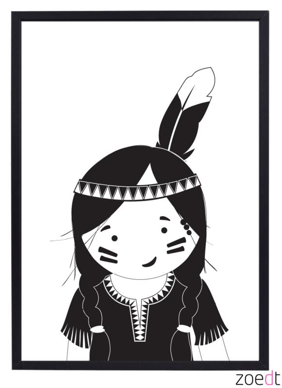 Poster met indianen meisje