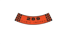 Decal Air Cleaner 289 Cubic Inches 2V 65-66