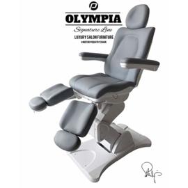 Behandelstoel Olympia met gedeelde beendelen Royal Grey Grijs ( te bezichtigen bij ons te Heers )