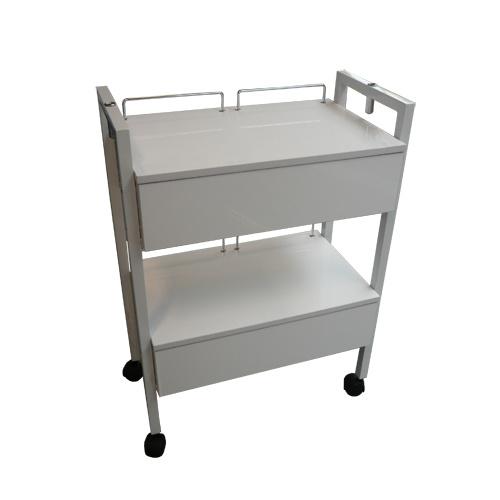 Proftrolley- luxe werkttafel 2 lades wit