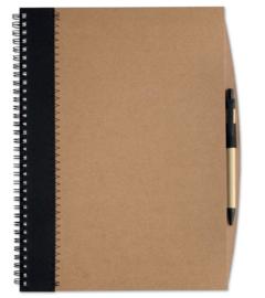 A4 Notitieboekje van gerecycleerd papier incl. gerecyclede pen zwart