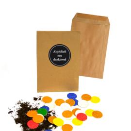 Tuinconfetti, Kraft Loonenvelopje Met Sticker