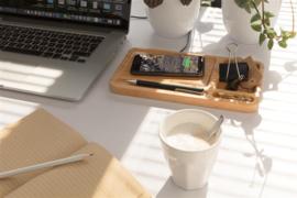 Bamboe desk organizer met 5W draadloze oplader, bruin