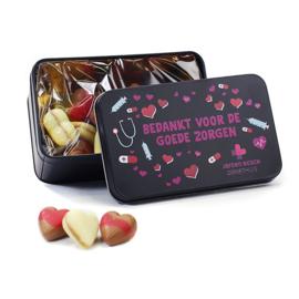 Geschenkblik met chocoladehartjes - UTZ certified