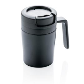 Dubbelwandige Coffee To Go Mok Met Handvat, Zwart