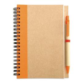 Notitieboekje van gerecycleerd karton, oranje met afbreekbare pen
