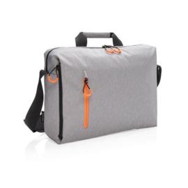 """Lima 15.6"""" RFID laptop tas PVC-vrij, grijs/oranje"""