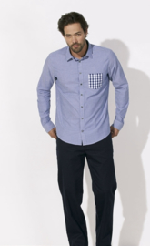 Stanley Breaks mannenoverhemd met zak in denim white blue